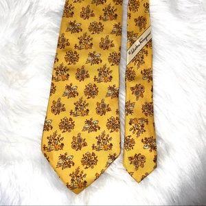 Salvatore Ferragamo Italian 100% Silk Gold Tie
